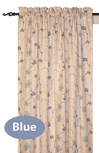 Zoe Floral Print Tailored Panel Semi Sheer Curtain 48-Inch-by-84-Inch - Blue (Panel Tailored Curtain Sheer)