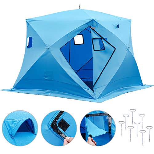 Happybuy Ice Shelter 2 3 4 8 Person Pop-up Portable Ice Fishing Shelter Top Insulated Ice Shelter Tent for Fishing Outdoor (Blue for 4 Person)