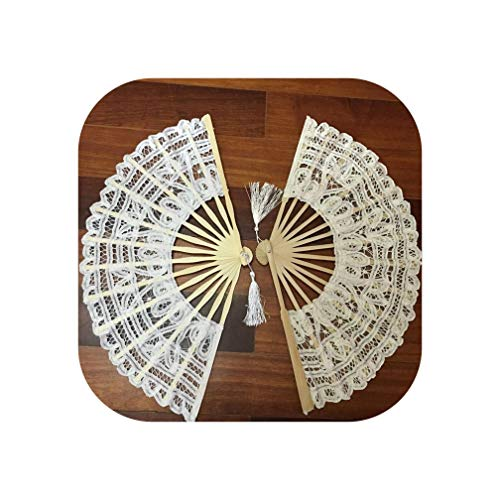 7 Colors Vintage Style Handmade Folding Fan Battenburg Lace Embroidery White and Beige Wedding Fans Woman Hand Fan,Red