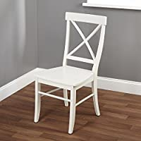 Contemporary Style Easton Cross-back Chair Is Constructed of Durable Wood in an Antique White Finish, Add It to Any Corner of Your Home for a Charming Touch