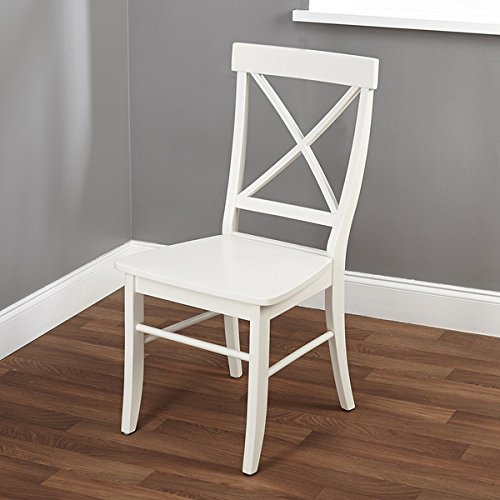 Contemporary Style Easton Cross-back Chair Is Constructed of Durable Wood in an Antique White Finish, Add It to Any Corner of Your Home for a Charming Touch (Antique White Chairs)