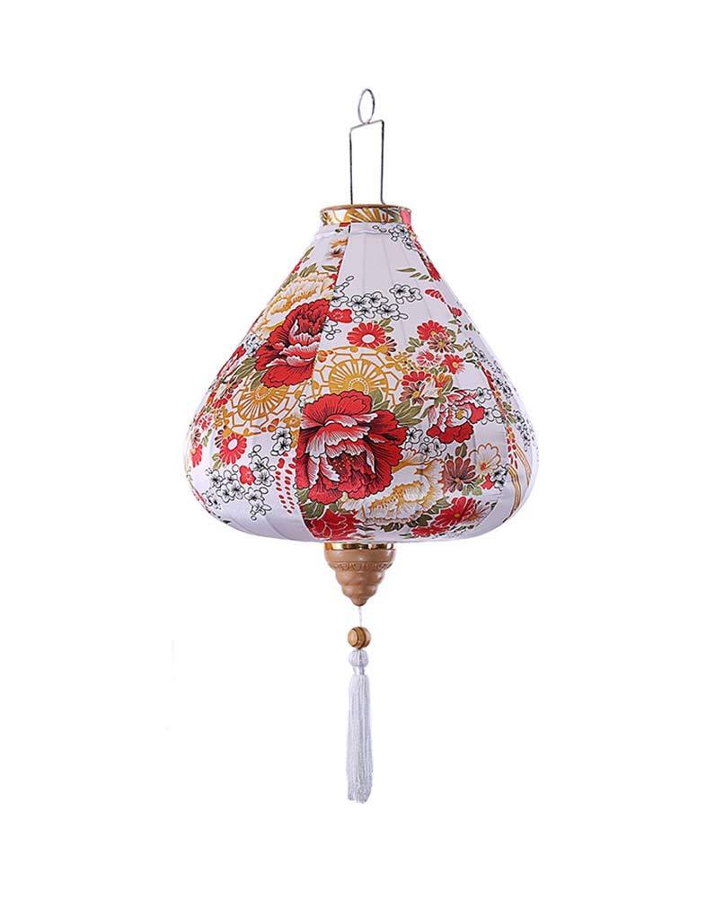 Amazon.com: Farol de tela china pintada con flores blancas y ...
