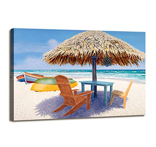 Canvas Wall Art Beach Wall Decor Wall Painting For Bedroom Wall Art For Office Decor Beach Theme Decor Beach Chair Umbrella Wooden Boat Wall Pictures For Living Room Framed Artwork Bathroom Home Decor