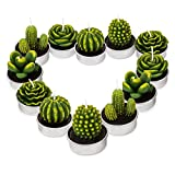 GEESEN Cactus Tealight Candles,Cute Tea Lights Decorative for Wedding Birthday Party Home Decoration 12PCS