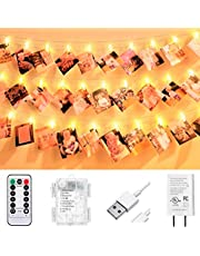 VNSG 40 LED Photo Clip String Lights for Bedroom Wall Decor┃Battery or Plug In┃Fairy Lights to Hang Pictures, Christmas Cards, Wedding Photos┃6m Soft White┃Photo Lights with Clips for Picture Hanging