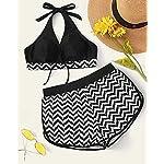 Voqeen-Costumi-da-Bagno-Donna-Bikini-Due-Pezzi-Set-Tankini-Beachwear-Swimwear-Costume-a-Fascia-Monokini-Halter-Stripe-Stampati-Regolabile-Abiti-da-Spiaggia