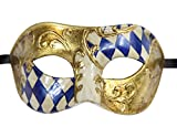 Luxury Mask Men's Vintage Design Masquerade Prom Mardi Gras Venetain, Blue/Gold Half Checkered, One Size