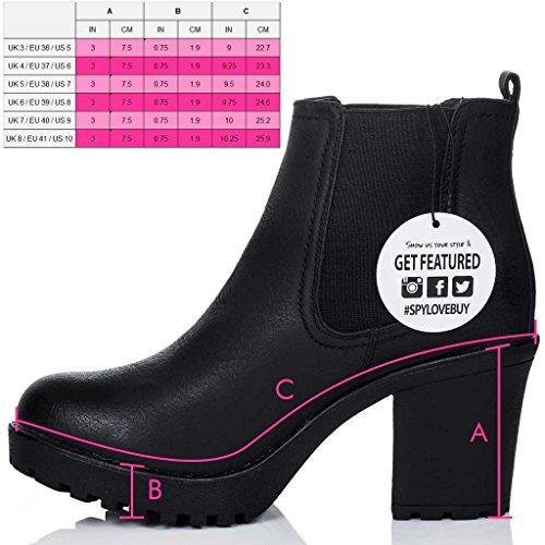 Women's Style Boots Leather Ankle Block YAEL Black SPYLOVEBUY Pumps Heel zxcWqv6gn5