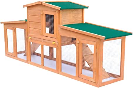 Rabbit Hutch Cage Pet Guinea Pig Chicken Coop Ferret Hen Run House Wooden 190cm