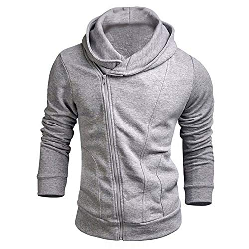 Cyose Fashion Men Long Sleeve Winter Warm Hooded Top Tracksuits Gray XL