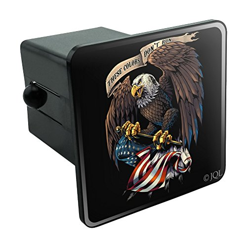 Graphics and More These Colors Don't Run Patriotic Eagle USA American Flag Tow Trailer Hitch Cover Plug Insert 2
