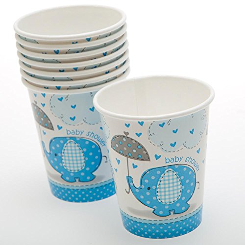 9oz Blue Elephant Boy Baby Shower Paper Cups, 8ct