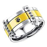 Onefeart Stainless Steel Ring For Men Boy Round Cubic Zirconia Gentleman Arrogance Design Gold US Size 9