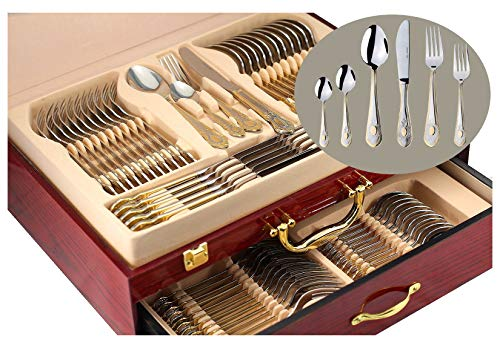 75-Piece Gold Flatware Set Dining Service for 12, 18/10 Premium Stainless Steel, 24K Gold-Plated Trim, Silverware Serving Set, Wood Storage Case (