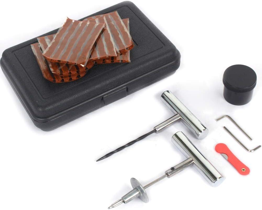 Qiilu Kit de Reparación de Neumáticos Kit de Reparación para Neumáticos Pesados Juego de 37 Piezas con Maleta negro para Motos y Coches
