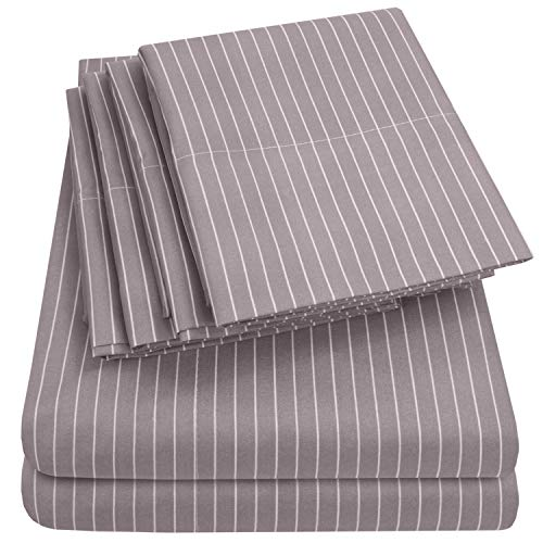 Cal King Size Bed Sheets - 6 Piece 1500 Thread Count Fine Brushed Microfiber Deep Pocket California King Sheet Set Bedding - 2 Extra Pillow Cases, Great Value, California King, Pinstripe Gray