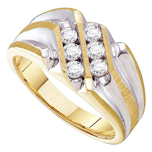 The Diamond Deal 10kt Yellow Gold Mens Round Diamond Double Row Two-tone Ridged Band Ring 1/2 Cttw