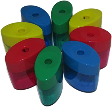 Double Hole Triangle Shaped Pencil Sharpener With Cover And Receptacle
