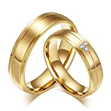 AnaZoz Stainless Steel Cubic Zirconia 6MM Wedding Bands Sets for Him and Her Gold Plated Women Size 9 & Men Size 12