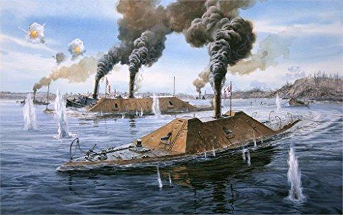makeuseof WAR ART weapon ironclad civil war united states naval battle combat ship sink Canvas Poster