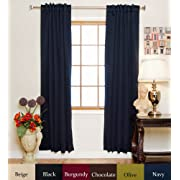 Blackout Curtain Navy Rod Pocket Energy Saving Thermal Insulated 84 Inch Length Pair