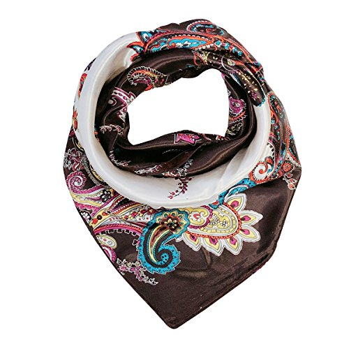 Wrapables Silky Feeling Satin Square Scarf, Intricate Paisley