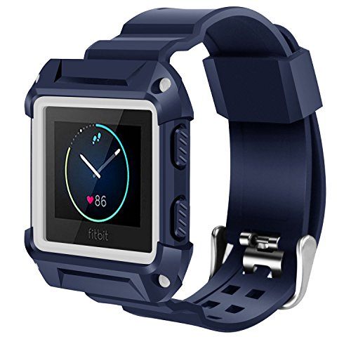 Price comparison product image Fitbit Blaze Bands, Soft Sport Silicone Replacement Wristband Strap for Fitbit Blaze Smart Watch -Navy/White