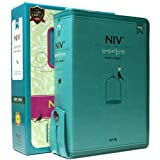 Small Revised NIV English / Korean Parallel Study Bible and Hymn Green Color Leather Bound with Zipper