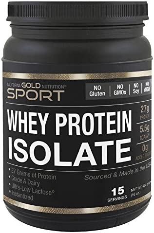 California Gold Nutrition Sport, Whey Protein Isolate, Unflavored, 90 Protein, Fast Absorption, Easy to Digest, Single Source Grade A Wisconsin, USA Dairy, 1 lb, 16 oz 454 g