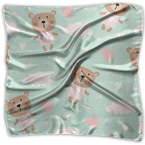 YUTJCV Cute Cartoon Bear In The Air Head Scarf Womens Printing Pattern Fashion Square Scarf ()