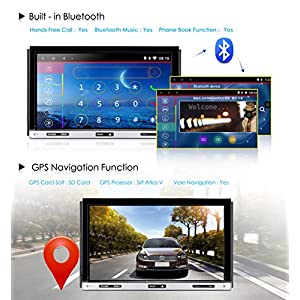 Upgarde Version Andriod 7.1 Double DIN Car Stereo –Ehotchpotch 7'' In Dash car Radio GPS Navigation Audio Receiver Bluetooth WIFI mirror link SD USB AM/FM /MP3/MP4 CD DVD Player + Rearview Camera