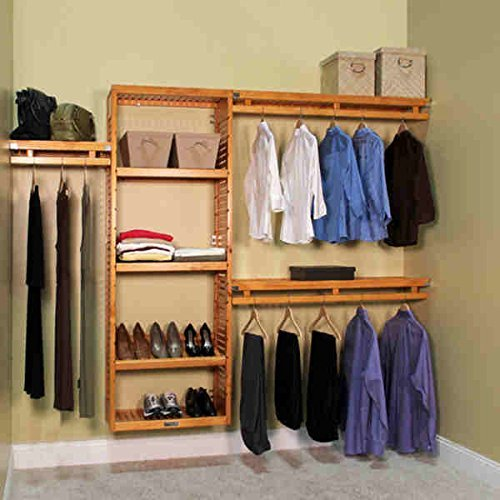 John Louis Home Collection 12 Inch Deep Simplicity Closet System Honey Maple