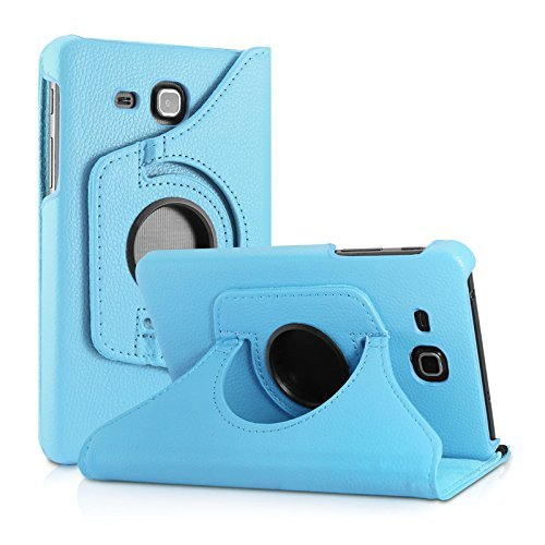 Blackpoll 360 Degree Rotating Leather Case Cover Stand for Samsung Galaxy Tab J Max/Tab A 7 inch T285 T280 (SkyBlue)
