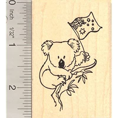 Koala with Australian Flag Rubber Stamp: Arts, Crafts & Sewing