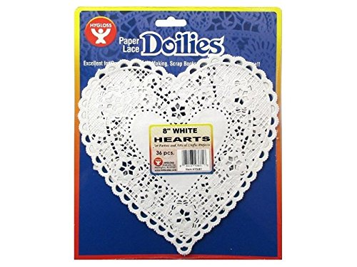 Hygloss Products Heart Paper Doilies – 8 Inch White Lace Doily for Decorations, Crafts, Parties, 36 Pack