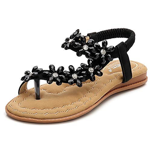 Fnnetiana Womens Summer Flat Sandals Comfortable Beach Shoes Bohemian Rhinestone Beaded Flip Flops Sandals(9.5 B(M) US,Black)