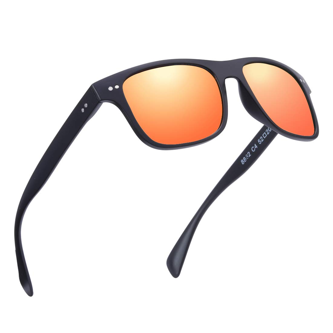 Black  Red Mirror Lenes BRUWEN Night Driving Glasses Wayfarer Sunglasses for Men Women Polarized Uv Predection Hd Lens,UltraLight Fashion Square