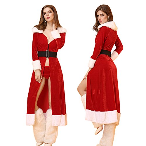 BADI NA Women's Long Sleeve Santa's Sweetie Fancy Christmas Costume Dress Hooded Set (One Size fit for S-L, Red)