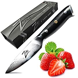 ARSj-Series Group 2 7 SETTING THE NEW STANDARD FOR PARING KNIVES: Impress Guests & Cook's alike with your Visually Stunning, Extreme Performance Multi Purpose Premier Paring Knife adding Refinement and Style to any Modern Kitchen! Minimal Slicing Resistance, Satisfying Heft, Full Tang & Premium Japan Materials! Set in a Premium Packaged Box, Value-for-Money Never Looked So Good! Slice like a Pro Rated Chef PREMIUM JAPANESE STEEL - RAZOR SHARP: Strong Imported Japanese AUS10 Super Steel with 67-layer High-Carbon Stainless Steel - our 4-inch Spear Point Paring Utility - Skinner Knife is Non-Stick, has an Exquisite Tsunami Rose Damascus Pattern and is Liquid Nitrogen Tempered ensuring Long Lasting Cutting Performance! Versatile, full-tang, AUS 10, Stain & Rust Resistant Blades, Short Curved Ultra Sharp Edge for Precision Control - Edges that Last! STUNNING TRIPLE-RIVET, CLASSIC ROUNDED HANDLE: This is what Differentiates Zelite AUS-10 Knives from the Competition - Our Handles Were Built with YOU in mind! Ergonomic, Non Slip, Top Military Grade G10 Black Handle Triple Riveted to the Forged Full Tang for Extra Strength & Durability, Comes with the Zelite Infinity Classic 3-Metal Mosaic Rivet. Ergonomically Designed -ROUNDED- Handles ensure a Secure and Comfortable Grip! RARE Tapered Bolster - Extreme Comfort, Perfect Balance!