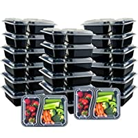 Galashield Meal Prep Containers [20 Pack] 2 Compartment with Lids, Food Containers, Lunch Box | BPA Free | Stackable | Bento Box, Microwave/Dishwasher/Freezer Safe, Portion Control (29 oz)