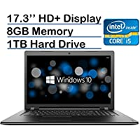 Lenovo 17.3-inch HD+ (1600 x 900) High Performance Laptop PC, Intel Core i5-6200U Processor, 8GB RAM, 1TB HDD, DVD-RW, HDMI, VGA, Bluetooth, 802.11ac, Webcam, Windows 10-Black