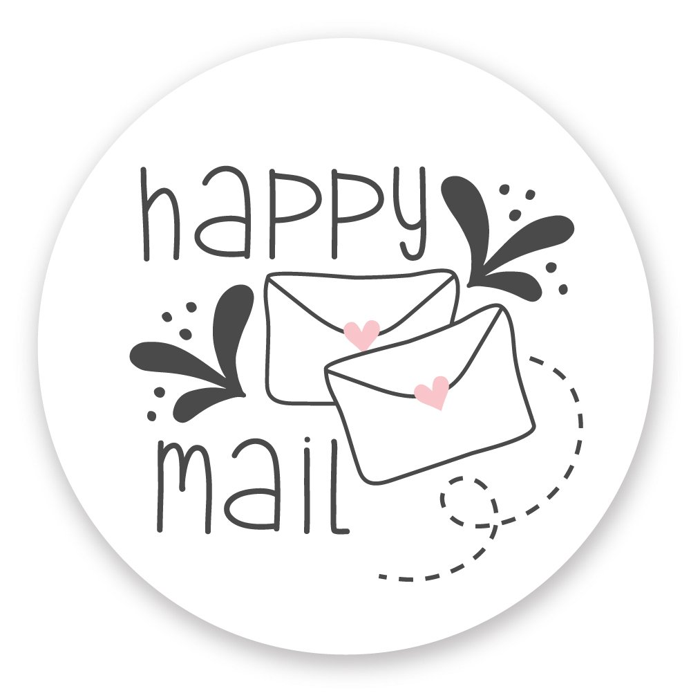 "Happy Mail Stickers (120 Count) - Cute Package Labels - 1.5"" Envelope with Heart"