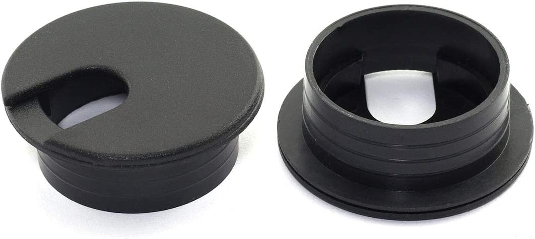 HJ Garden 2pcs 1-3/8 inch Desk Wire Cord Cable Grommets Hole Cover for Office PC Desk Cable Cord Organizer Plastic Cover Black