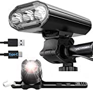 Victagen - Luces para bicicleta, superbrillantes de 2000 lúmenes, 3 luces LED para bicicleta delantera y trase