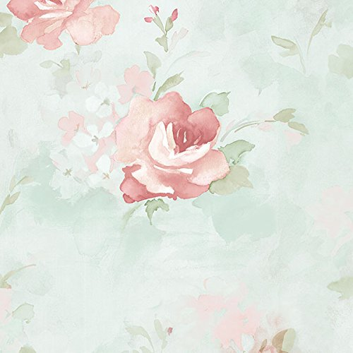 Manhattan comfort NWAB42417 Waterbury Series Vinyl Watercolor Roses Design Large Wallpaper Roll, 20.5
