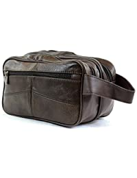 Mens Leather Toiletries / Travel / Holiday / Over Night / Wash Bag ( Brown )