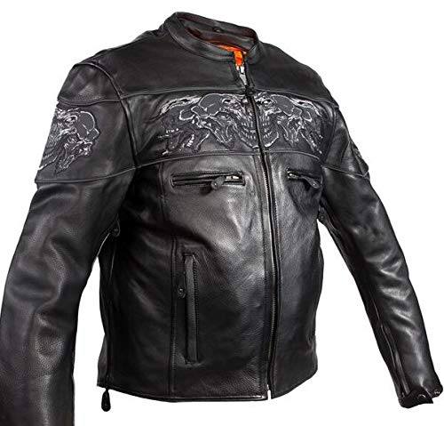 Mens Motorcycle High Visibility Savage Reflective Skull Gun Pocket Leather Jacket (7XL) (Mens Leather Skull Jacket)