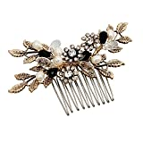 Vintage Black Flower Crystal Pearl Side Combs Bridal Headpiece Wedding Hair Accessories