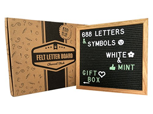 - Changeable Felt Letter Board w/ gift box! This black letter board includes: solid oak 10X10 inch board + 688 plastic letters, symbols and emojis (WHITE & MINT colors) + 2 storage bags + gift