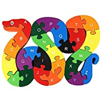 lovestown  Alphabet Jigsaw Puzzle Building Blocks Animal Wooden Puzzle , Wooden Snake Letters Numbers Block Toys for Children